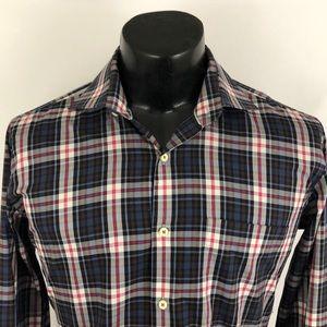 Peter Millar Button Up Shirt Blue Gray Plaid M